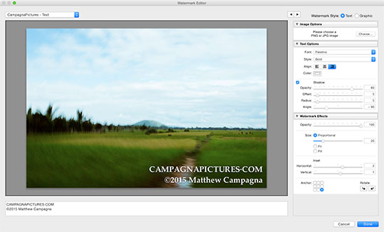 Lightroom's custom watermark dialog has good, but limited options