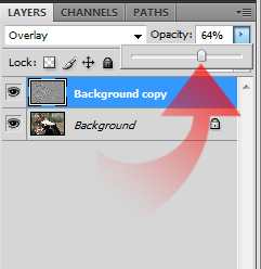adjusting opacity of sharpening layer in photoshop