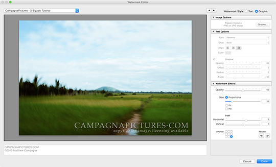 Previewing our graphic watermark in Lightroom