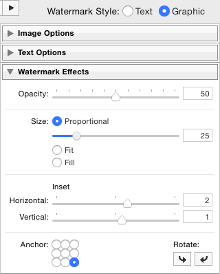 Configure your Watermark Effects panel