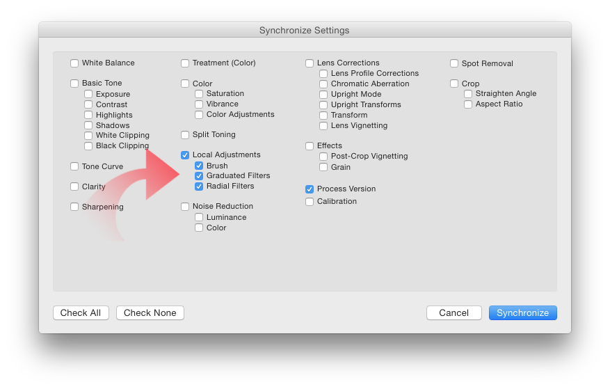 syncing the settings for further use on the eyes in lightroom cc