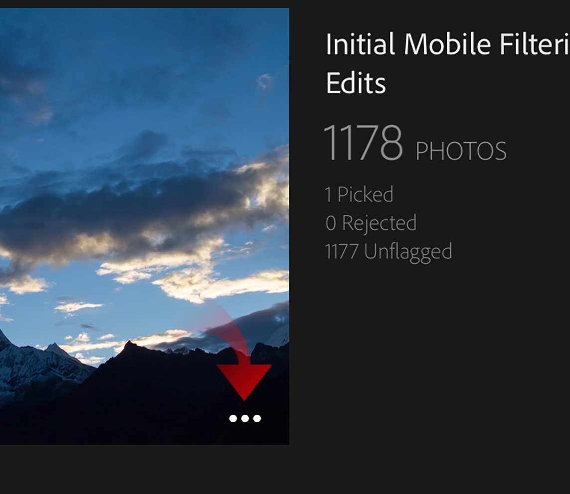 screen grab of the dots for offline editing in lightroom mobile