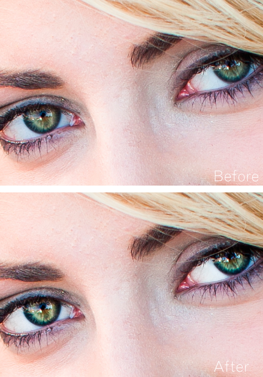 before and after picture of the eye poppin' effect