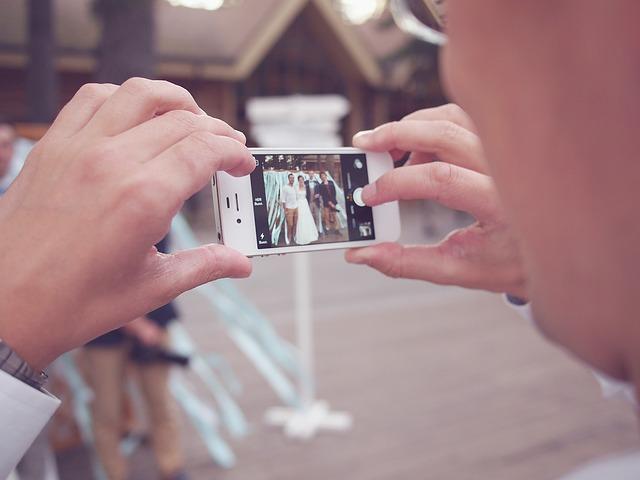 Wedding photo taken on an iPhone camera app