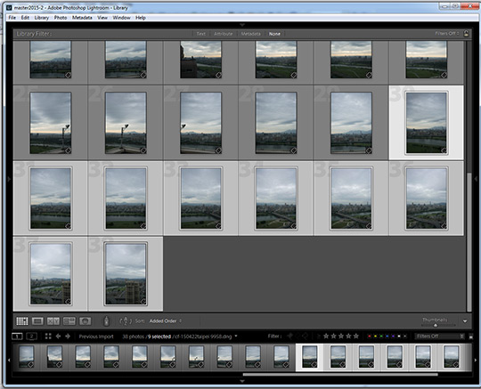 Panorama photo selection in Lightroom CC