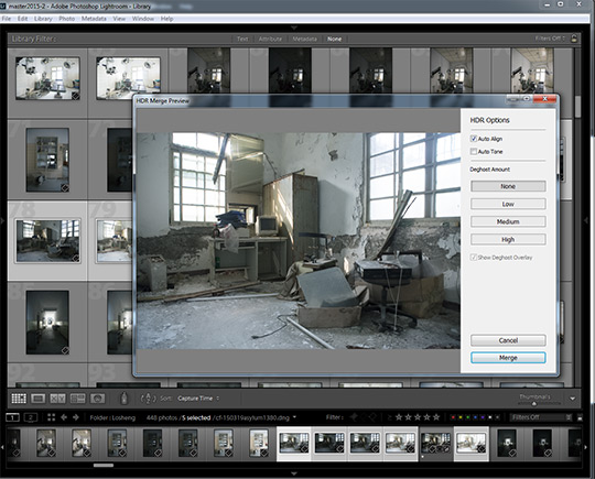 Preview of merge to HDR in Lightroom CC