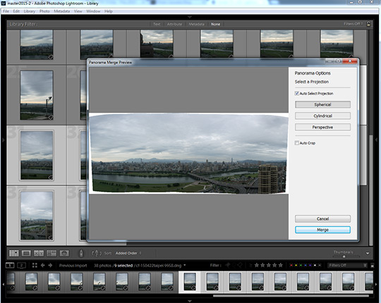 Panorama preview in Lightroom CC