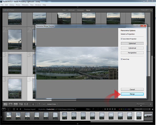 Auto cropping and the merge button in Lightroom CC