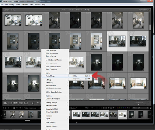Photo selection to HDR in Lightroom CC