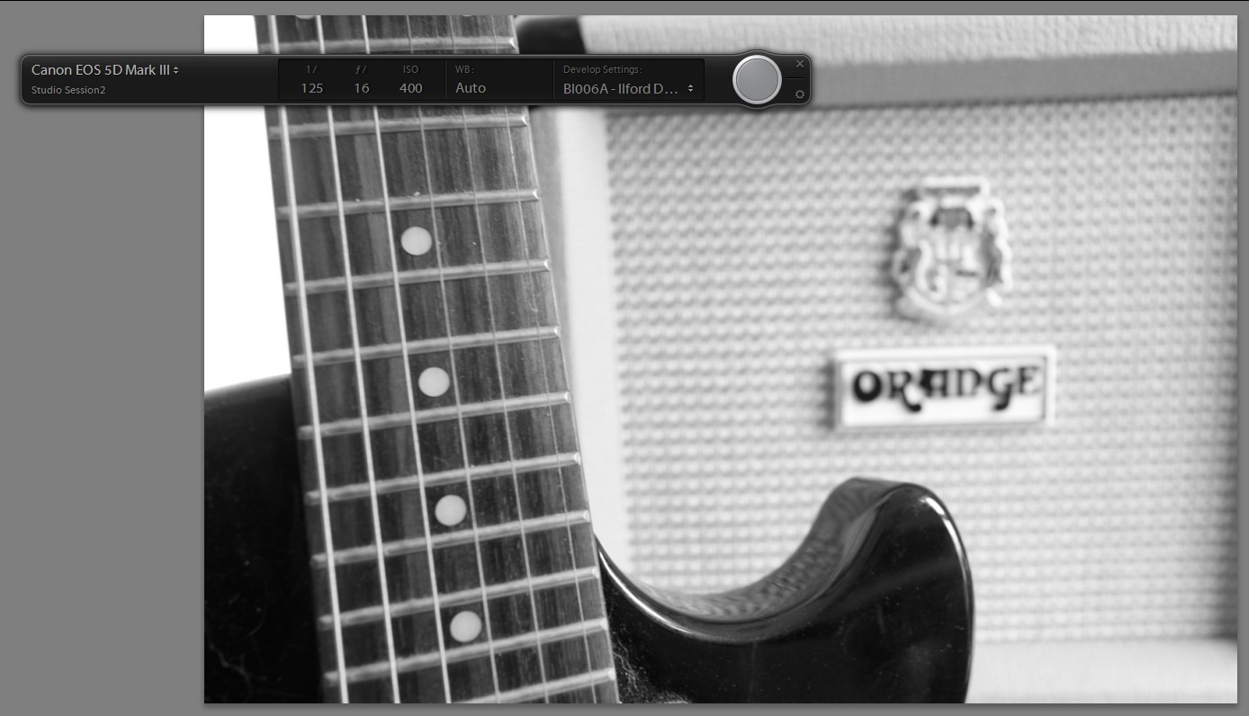 guitar and amp processed with x-equals preset Ilford Delta 400 Pro Mix