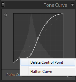 deleting control points on the tone curve